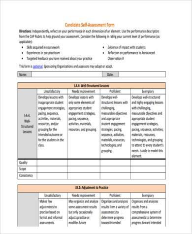 self assessment form | lukex.co