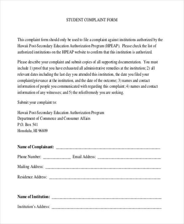 Free Complaint Forms - sample consumer complaint form