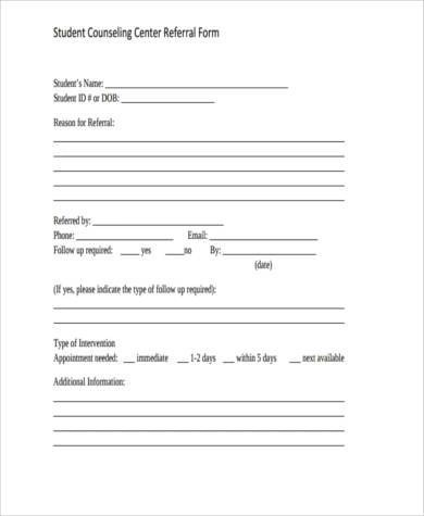 Sample Student Counseling Forms - 8+ Free Documents in Word, PDF