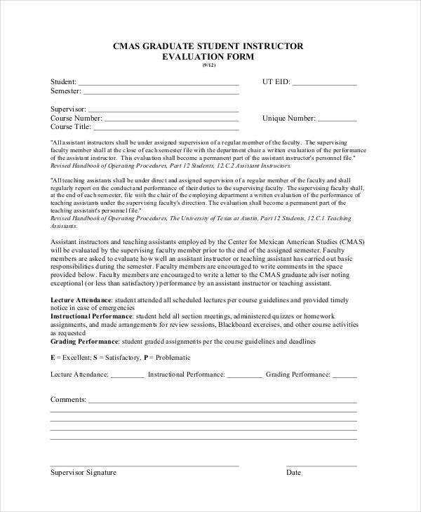 Lecture Evaluation Form Sample Lecture Evaluation Form 100 Examples - lecture evaluation form