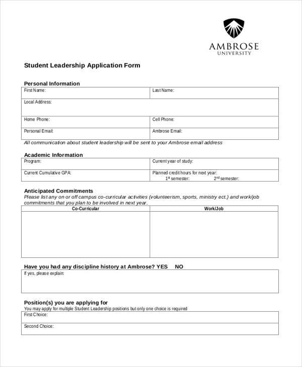 Sample Leadership Application Forms - 8+ Free Documents in Word, PDF - application forms