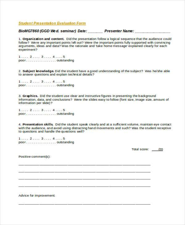 Evaluation Forms in Word - presentation evaluation form in doc