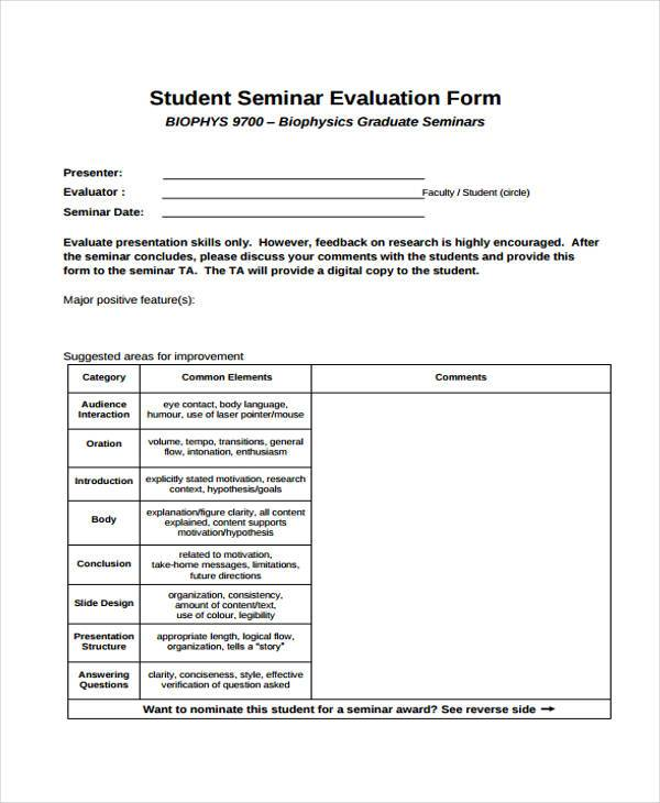 Sample Seminar Evaluation Forms - 9+ Free Documents in Word, PDF - seminar evaluation form