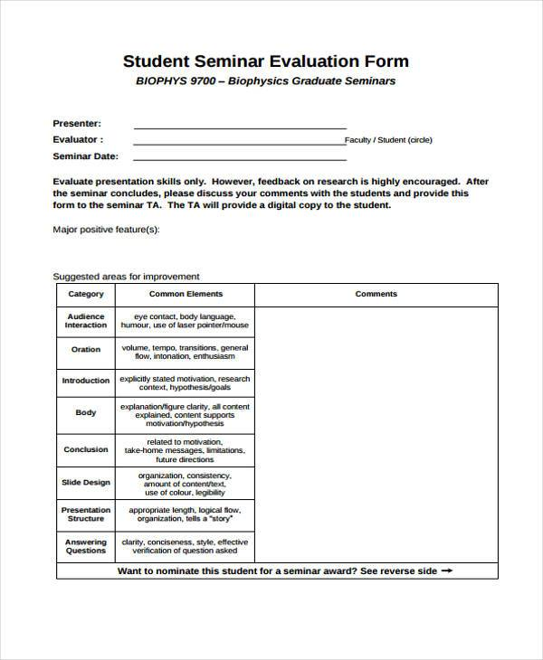 Evaluation Form Sample Seminar  Professional Resume Format In