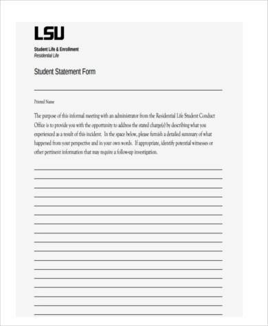 Free Statement Forms Business Financial Statement Form Income - printable statement form
