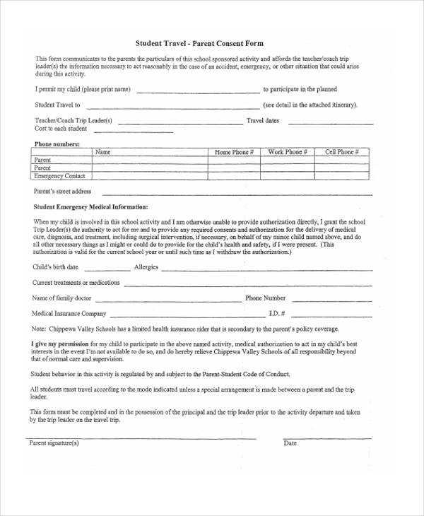 Doc#878995 Child Travel Consent Form u2013 Child Travel Consent Form - travel consent form sample