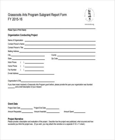 Grant Report Form how to submit your grant report completing your