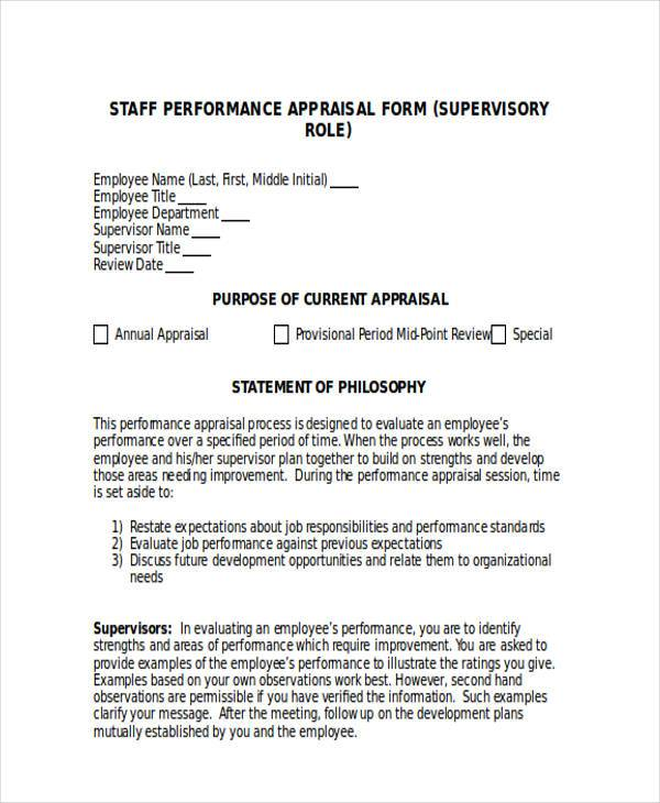 Sample Supervisor Appraisal Forms - 7+ Free Documents in Word, PDF - appraisal form in doc