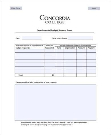 Sample Budget Request Forms - 9+ Free Documents in Word, PDF - budget request form