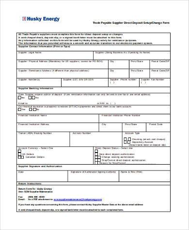 Sample Vendor Direct Deposit Forms - 7+ Free Documents in Word, PDF