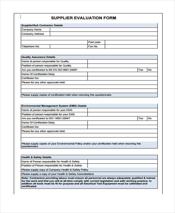 8+ Supplier Evaluation Form Samples - Free Sample, Example Format