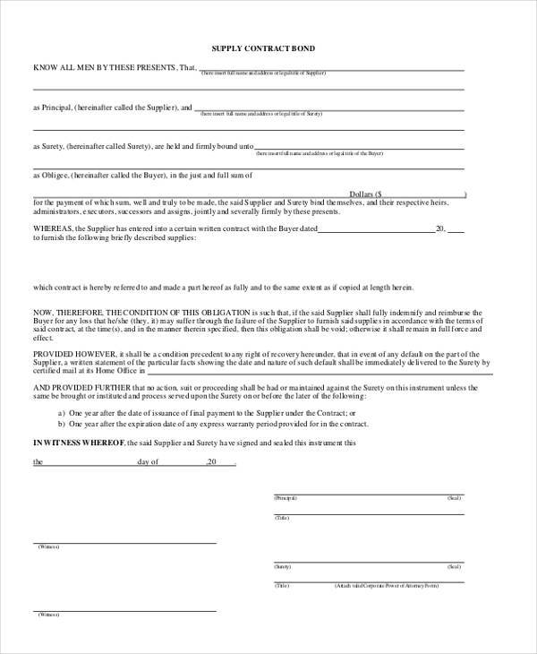 Bond Purchase Agreement Sample Gallery - Agreement Letter Format - supply contract templates