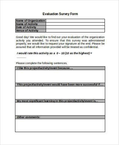 Sample Survey Evaluation Forms - 7+ Free Documents in Word, PDF - evaluation form in word