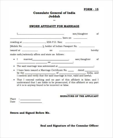 7 Sworn Affidavit Form Samples Free Sample Example Sworn Statement - affidavit form in pdf