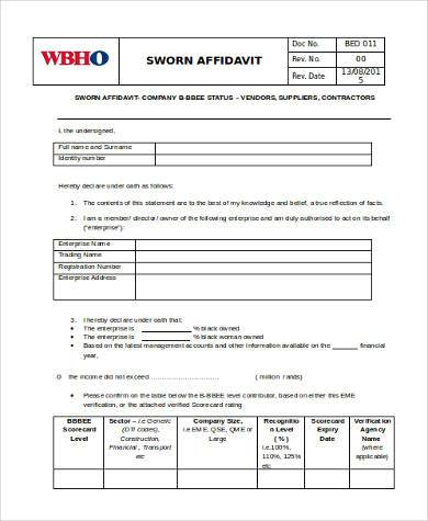 Sample Affidavit Forms in Doc - 20+ Free Documents in Word - affidavit template word