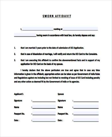 Sample Affidavit Sample Affidavit Forms In Pdfaffidavit Of Loss