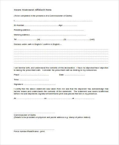 Sample Affidavit Forms in Doc - 20+ Free Documents in Word - statement form in doc
