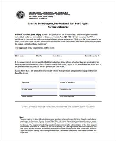 ... Sworn Statement Form Samples   7+ Free Documents In PDF   Blank Sworn  Statement ...