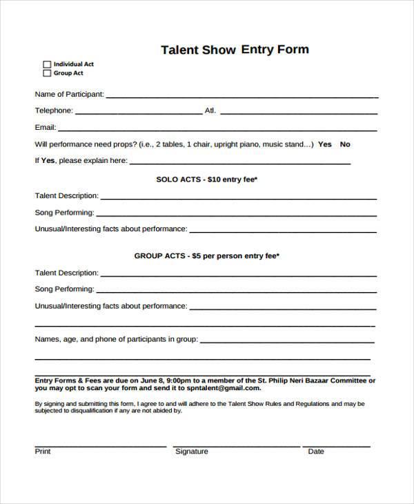 10+ Talent Show Registration Form Samples - Free Sample, Example - sample talent release form