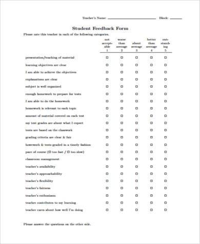 Direct and indirect speech exercise - English Grammar sample teacher - format for feedback form