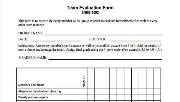 9+ Team Evaluation Form Samples - Free Sample, Example Format Download