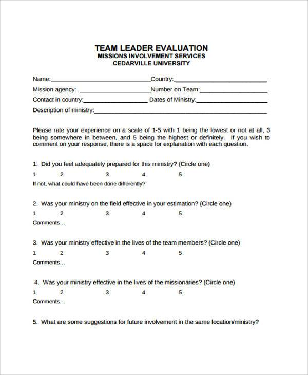 9+ Team Evaluation Form Samples - Free Sample, Example Format Download