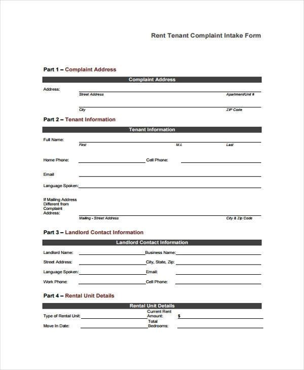 Sample Tenant Complaint Forms - 8+ Free Documents in Word, PDF - Tenant Information Form