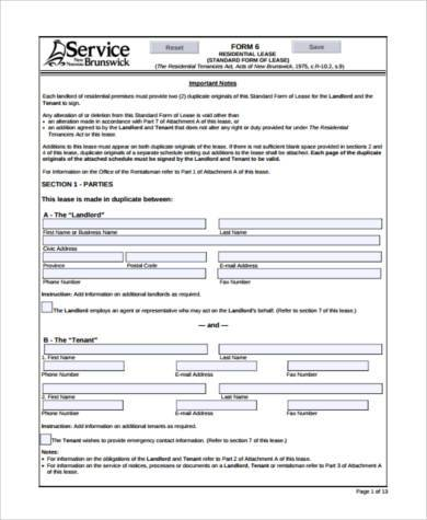 Tenancy Contract Template Lodger Application Download Sample - blank lease agreement example