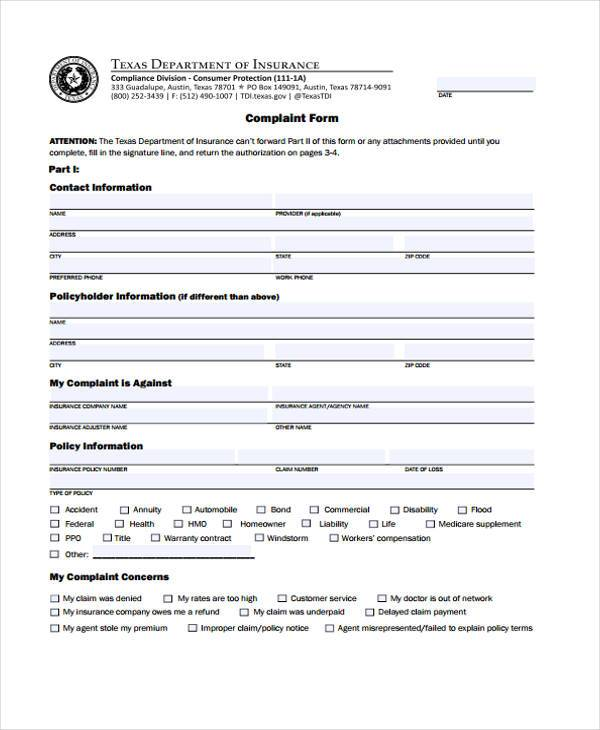 ... 9+ Medical Complaint Form Samples   Free Sample, Example Format   Free Customer  Complaint ...