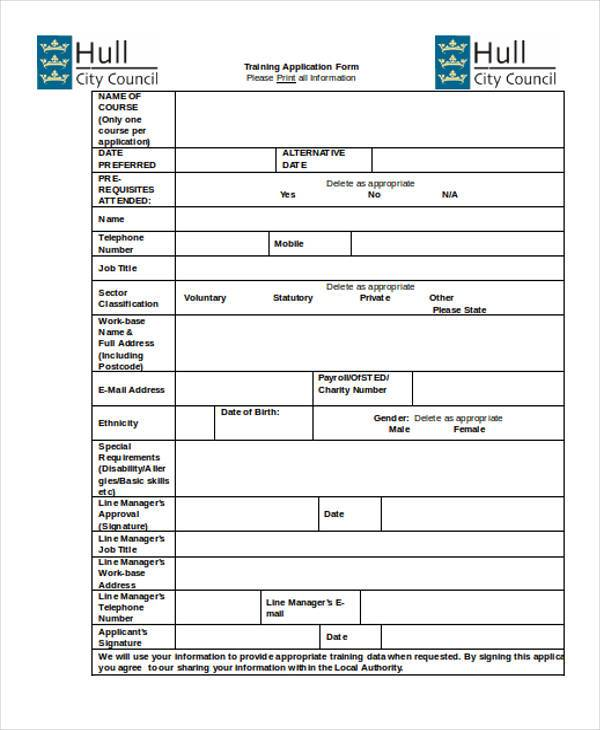 Sample Training Application Forms - 7+ Free Documents in Word, PDF - application form in doc