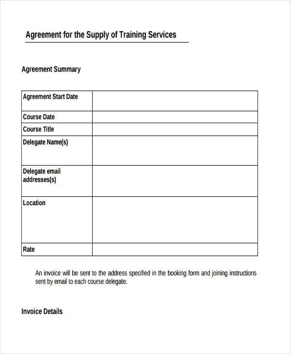 8+ Training Agreement Form Samples - Free Sample, Example Format - agreement form examples