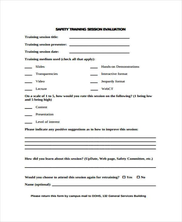 9+ Training Evaluation Form Samples - Free Sample, Example, Format - lecture evaluation form