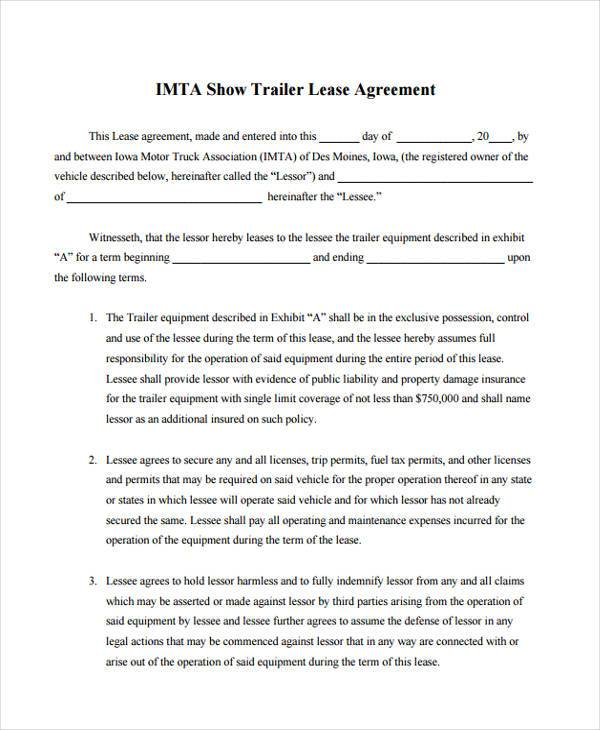 Sample Truck Lease Agreements - 9+ Free Documents in Word, PDF - lease agreement in pdf