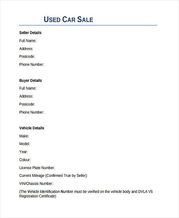 8+ Sale Contract Form Samples - Free Sample, Example Format Download - Car Sales Contracts