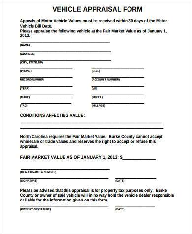 Sample Auto Appraisal Forms - 7+ Free Documents in Word, PDF