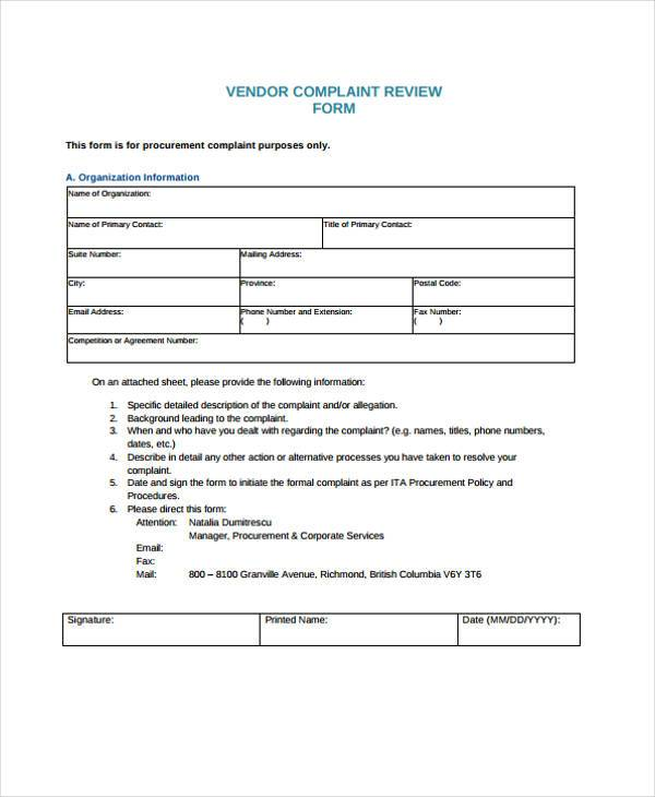 8+ Vendor Complaint Form Samples - Free Sample, Example Format Download