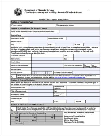 Sample Vendor Direct Deposit Forms - 7+ Free Documents in Word, PDF - direct deposit authorization form