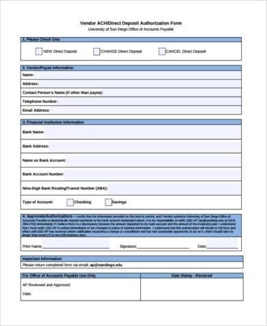 Sample Vendor Direct Deposit Forms - 7+ Free Documents in Word, PDF - direct deposit authorization form example