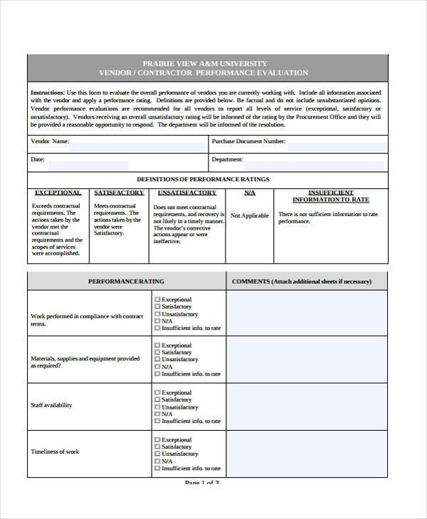What Is Performance Evaluation Form Employee Performance - supplier evaluation template