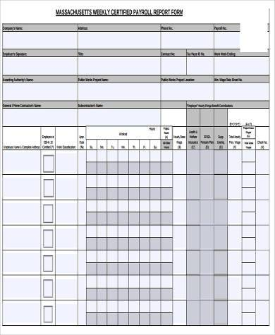 Certified Payroll Form Samples - 9+ Free Documents in Word, PDF