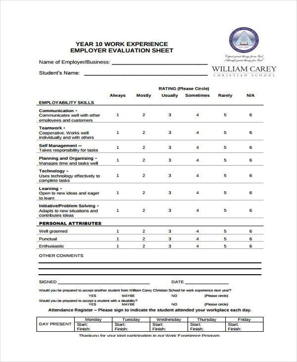 Job Performance Evaluation Form Pdf | How To Write Cv Part Time Job