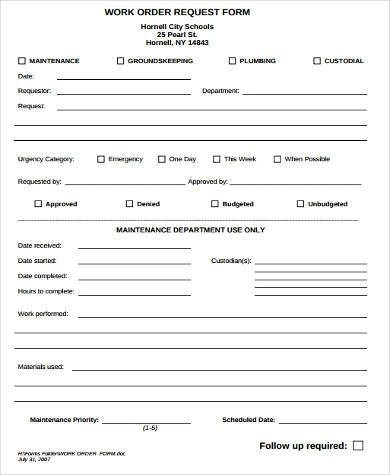 Sample Work Request Forms - 9+ Free Documents in Word, PDF - maintenance work order form