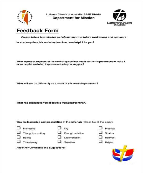 8+ Sample Seminar Feedback Forms - Free Documents in Word, PDF