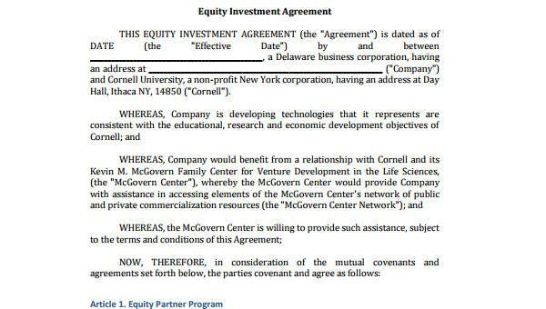 8+ Investment Agreement Form Samples - Free Sample, Example Format