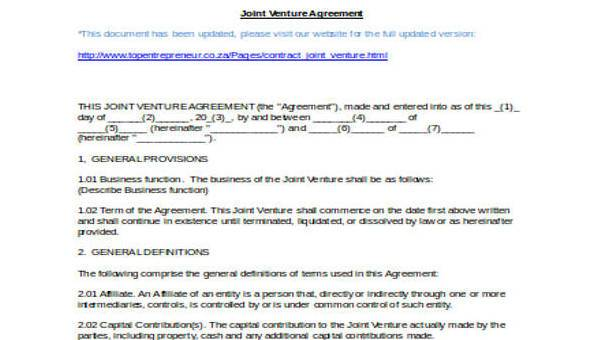 7+ Joint Venture Agreement Form Samples - Free Sample, Example