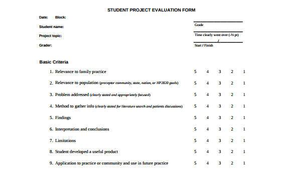 8+ Project Evaluation Form Samples - Free Sample, Example Format