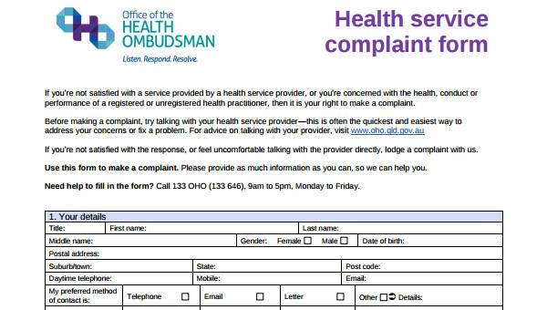 7+ Service Complaint Form Samples - Free Sample, Example Format Download