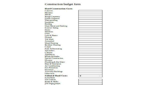 Sample Construction Budget Forms - 8+ Free Documents in Word, PDF