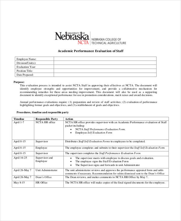 Employee Evaluations Sample Student Employee Evaluation 25 Free - hr evaluation form