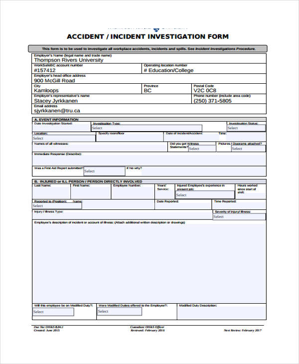 incident investigation report template - Onwebioinnovate - investigation report template